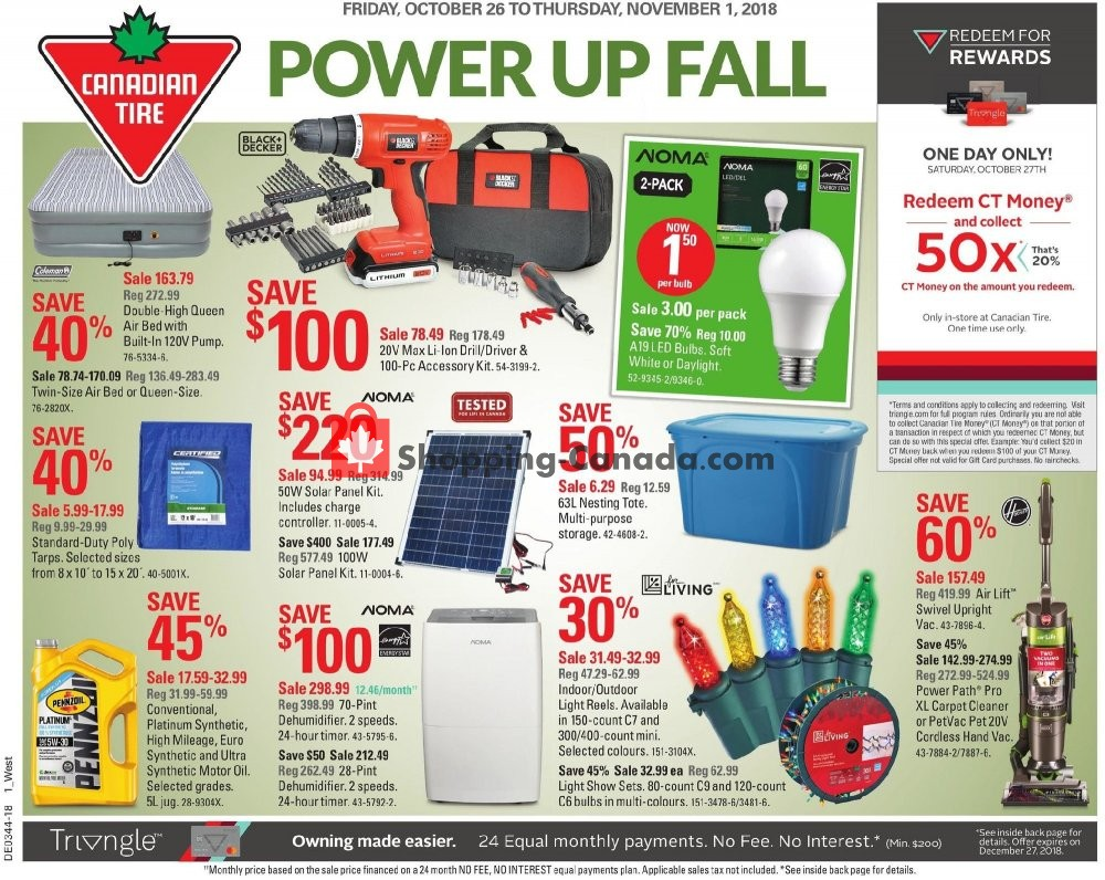 Flyer Canadian Tire Canada - from Friday October 26, 2018 to Thursday November 1, 2018