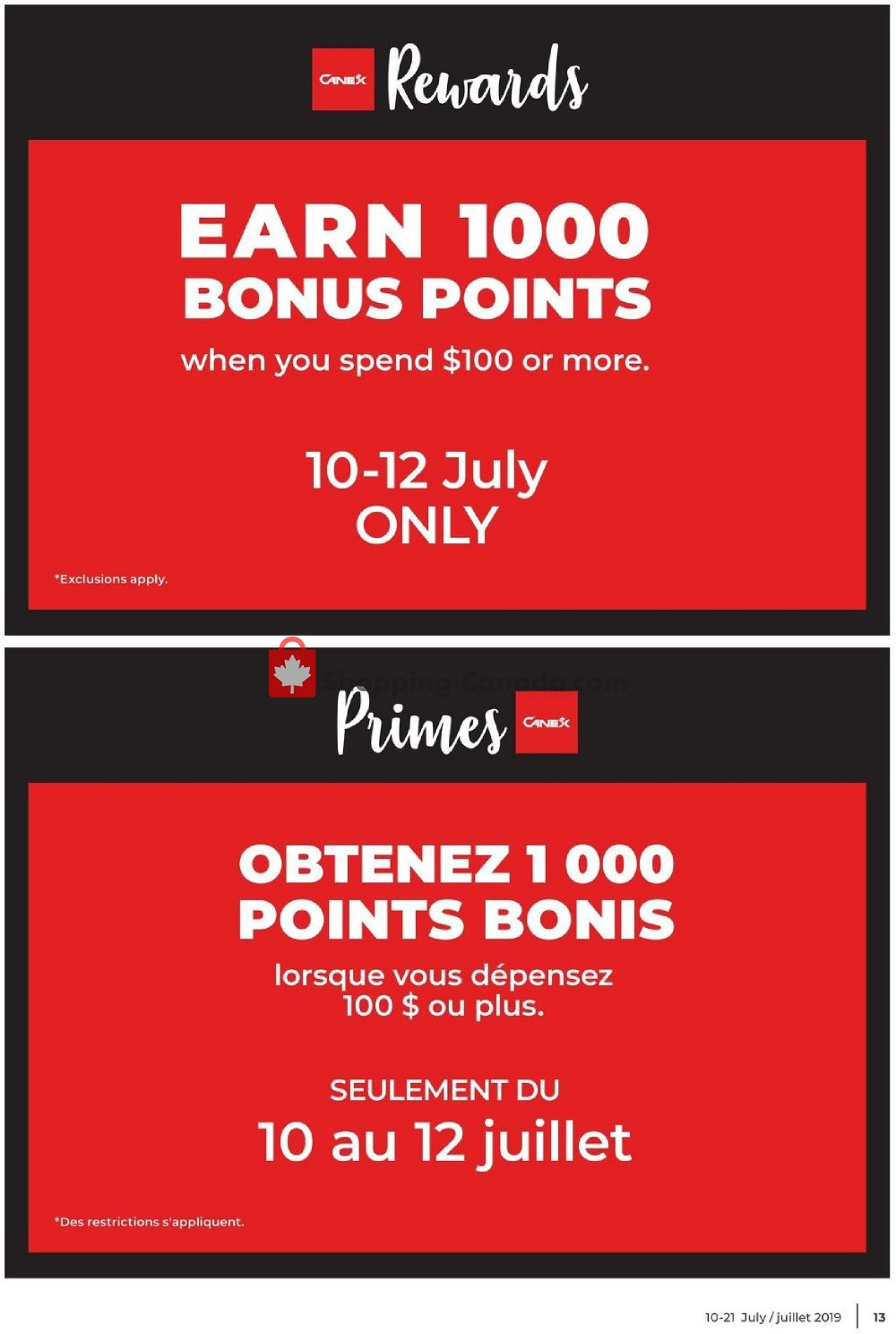 Flyer Canex Canada - from Wednesday July 10, 2019 to Sunday July 21, 2019