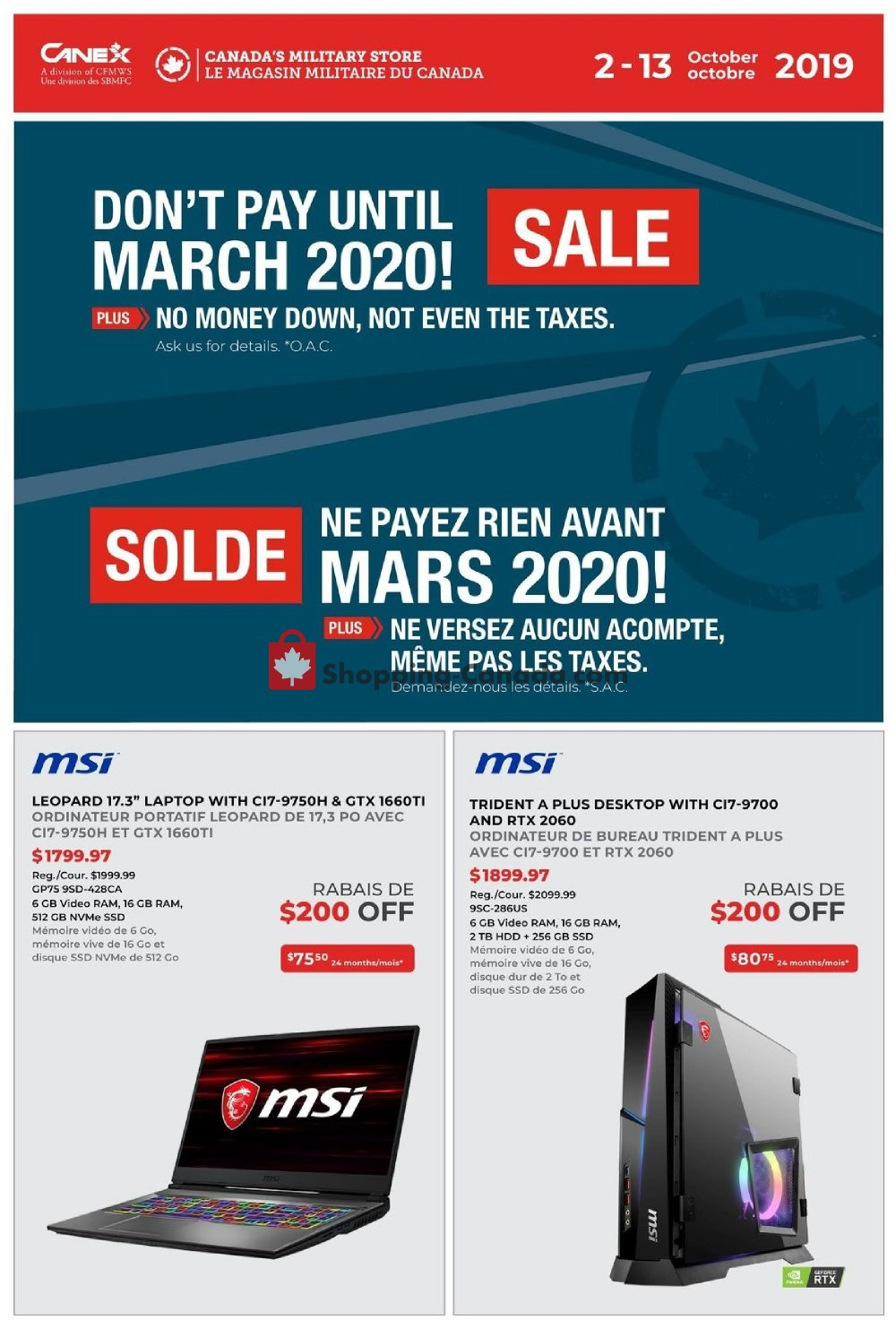 Flyer Canex Canada - from Wednesday October 2, 2019 to Sunday October 13, 2019