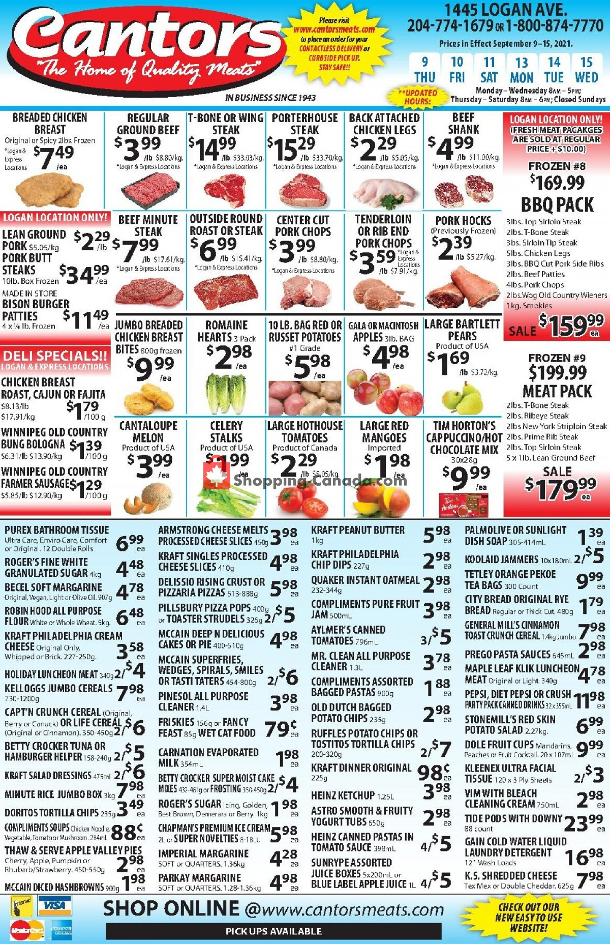 Flyer Cantor's Meats Canada - from Thursday September 9, 2021 to Wednesday September 15, 2021