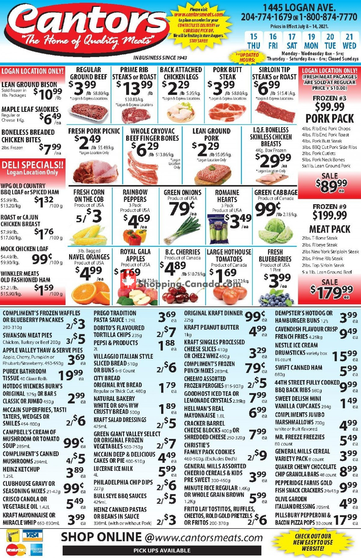 Flyer Cantor's Meats Canada - from Thursday July 15, 2021 to Wednesday July 21, 2021