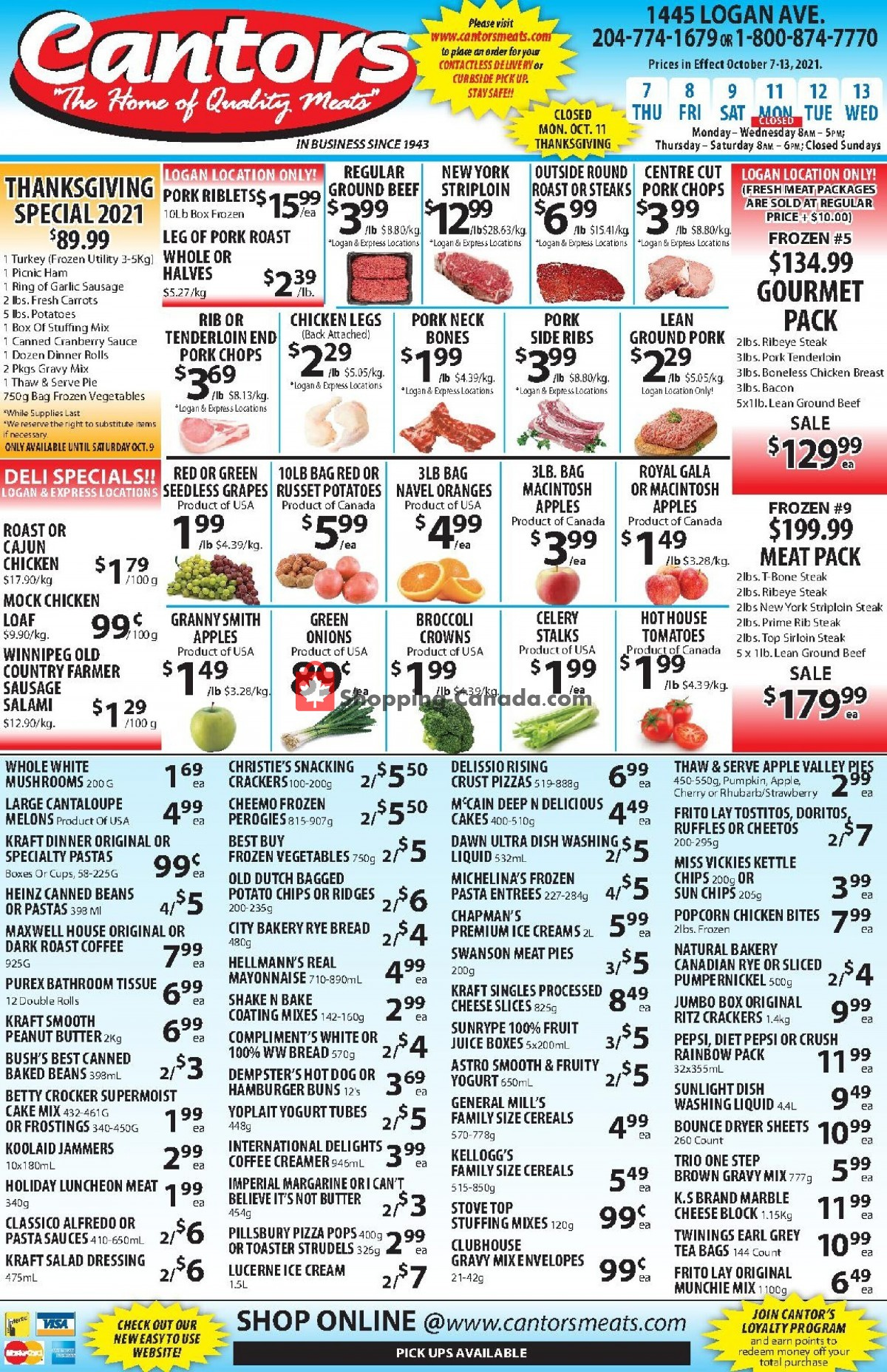 Flyer Cantor's Meats Canada - from Thursday October 7, 2021 to Wednesday October 13, 2021