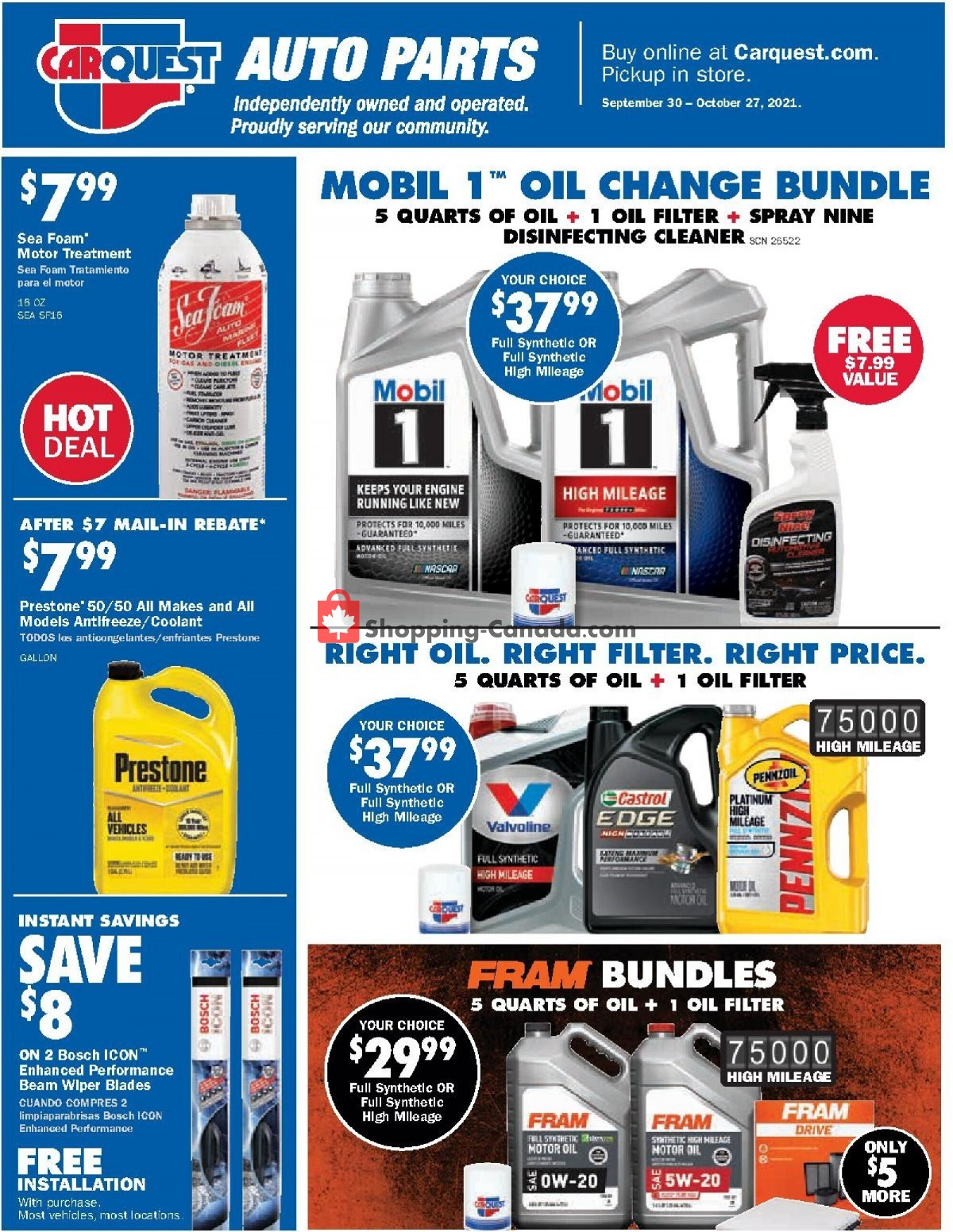 Flyer Carquest professionals Canada - from Thursday September 30, 2021 to Wednesday October 27, 2021