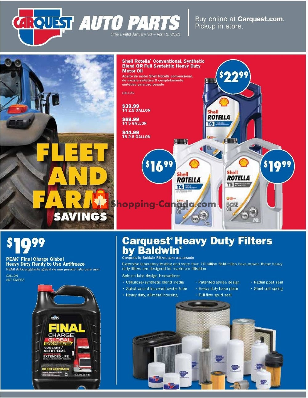 Flyer Carquest professionals Canada - from Thursday January 30, 2020 to Wednesday April 1, 2020
