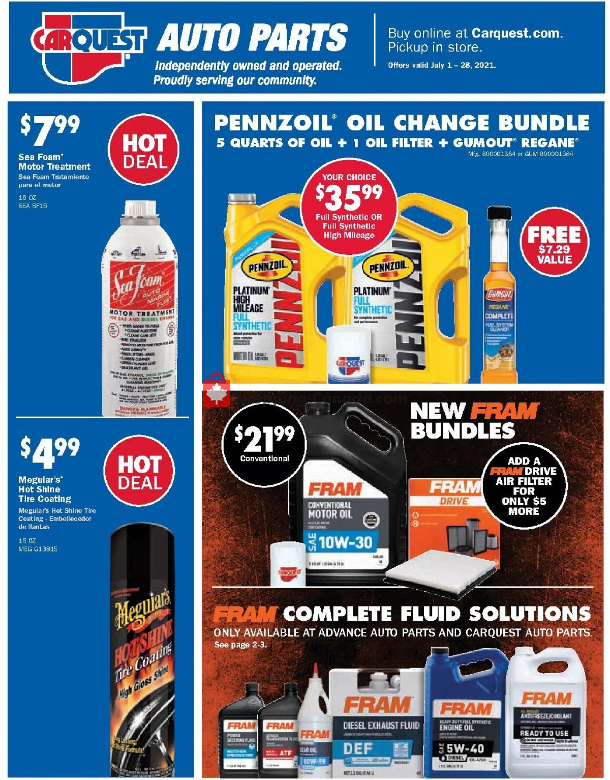 Flyer Carquest professionals Canada - from Thursday July 1, 2021 to Wednesday July 28, 2021