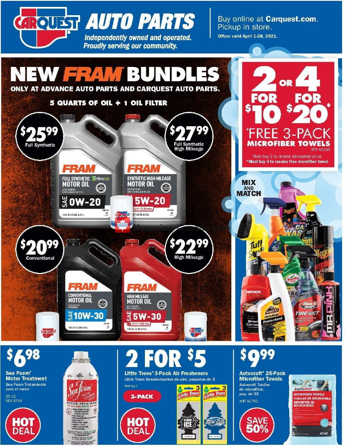 Flyer Carquest professionals Canada - from Thursday April 1, 2021 to Wednesday April 28, 2021