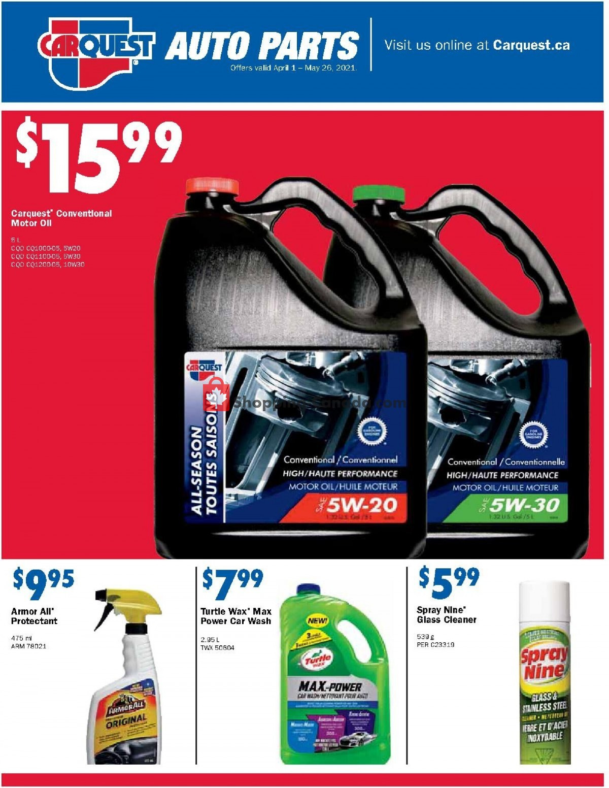 Flyer Carquest professionals Canada - from Thursday April 1, 2021 to Wednesday May 26, 2021