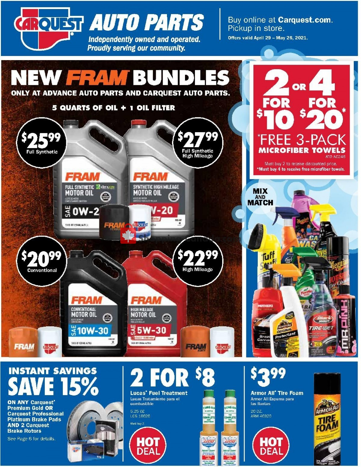 Flyer Carquest professionals Canada - from Thursday April 29, 2021 to Wednesday May 26, 2021