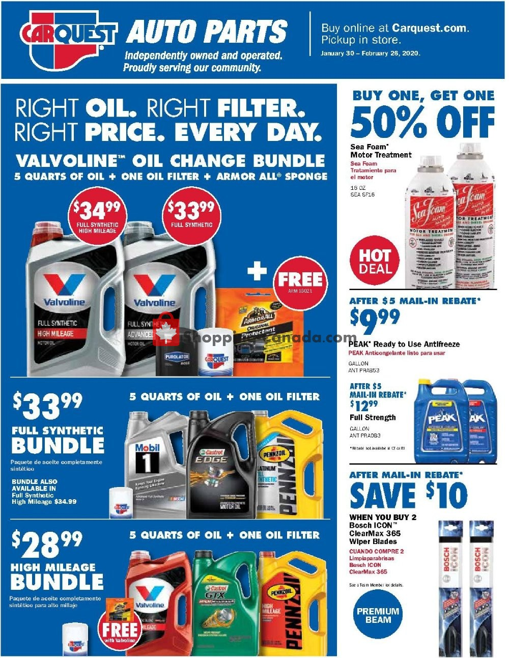Flyer Carquest professionals Canada - from Thursday January 30, 2020 to Wednesday February 26, 2020