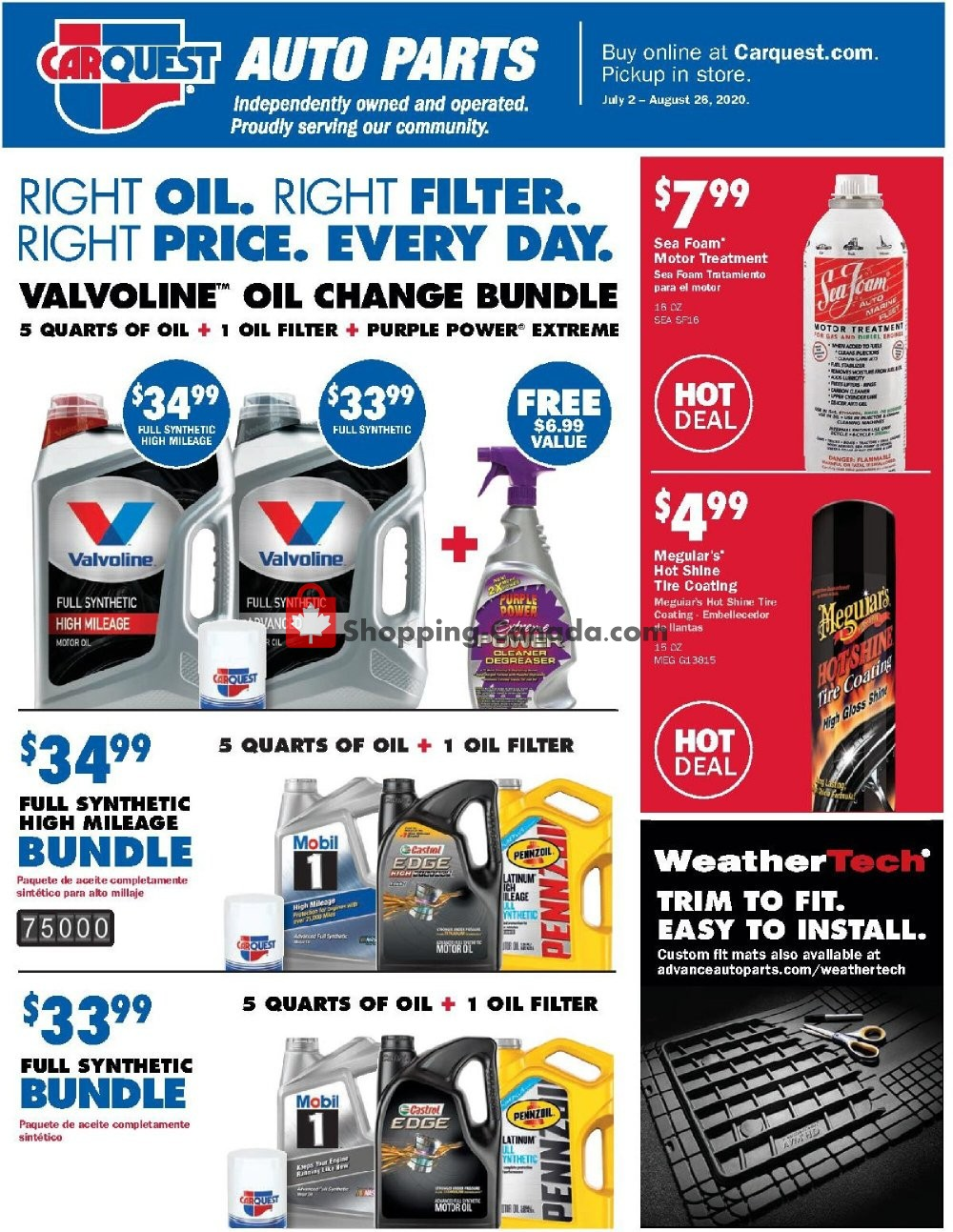 Flyer Carquest professionals Canada - from Thursday July 2, 2020 to Wednesday August 26, 2020