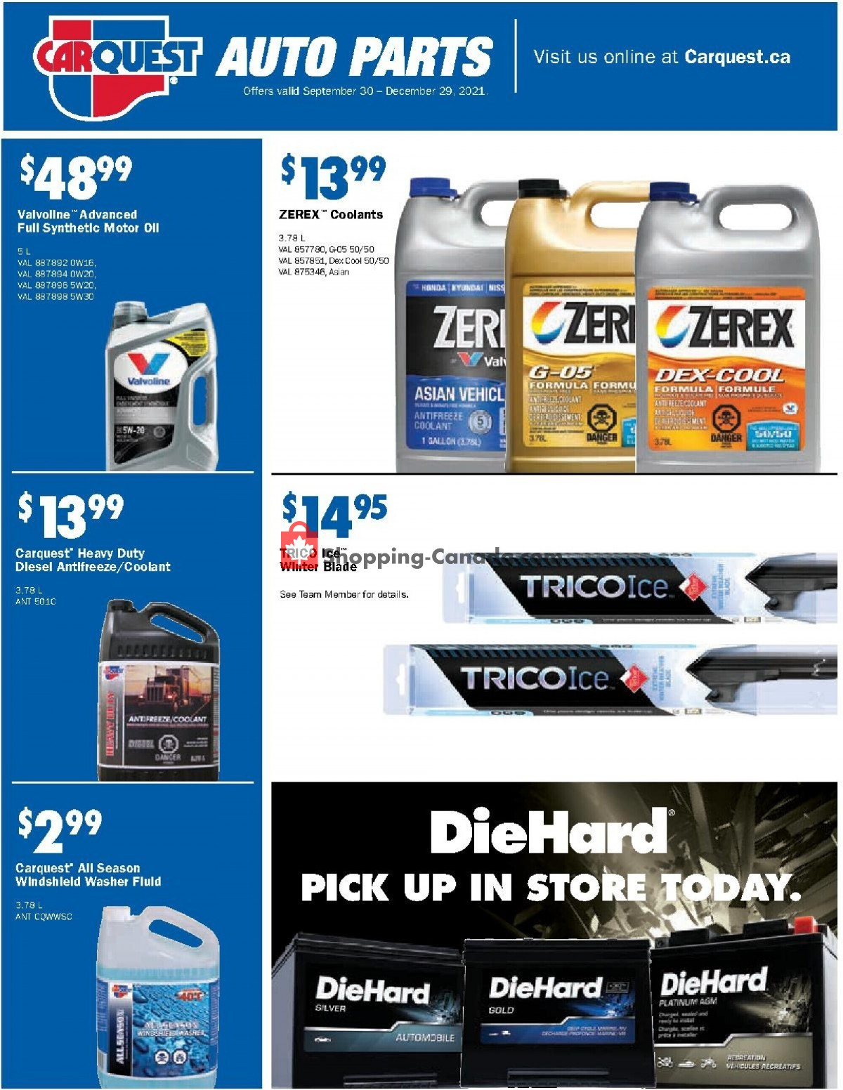 Flyer Carquest professionals Canada - from Thursday September 30, 2021 to Wednesday December 29, 2021