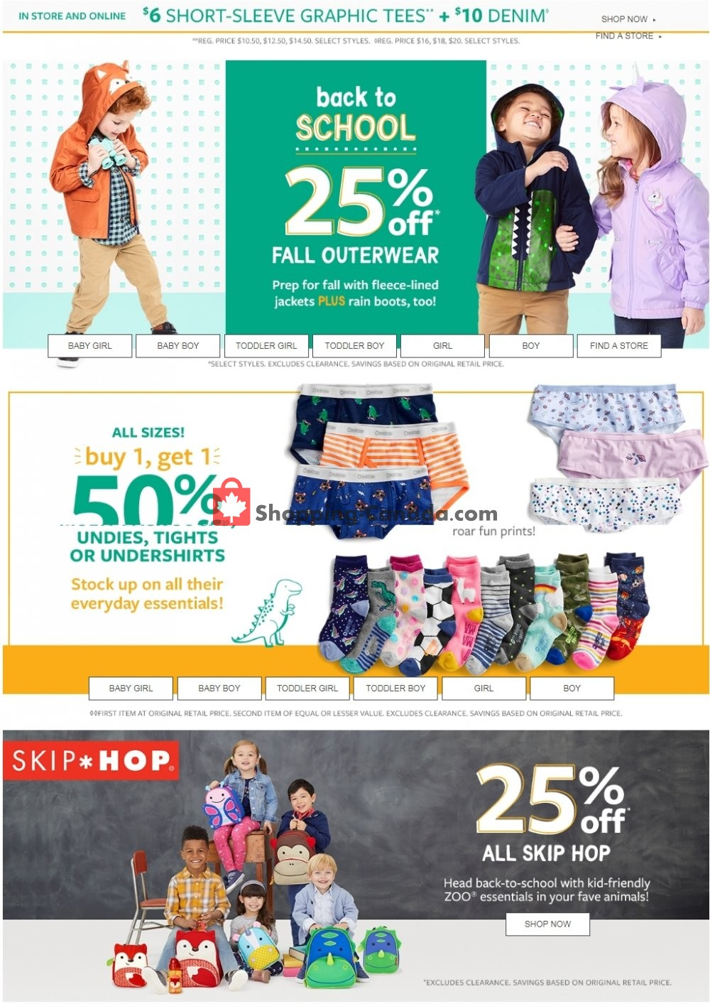 Flyer Carter's Oshkosh Canada - from Thursday August 15, 2019 to Wednesday August 21, 2019