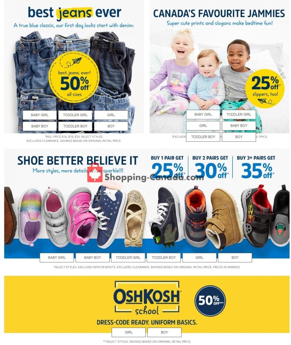 Flyer Carter's Oshkosh Canada - from Thursday September 5, 2019 to Wednesday September 11, 2019