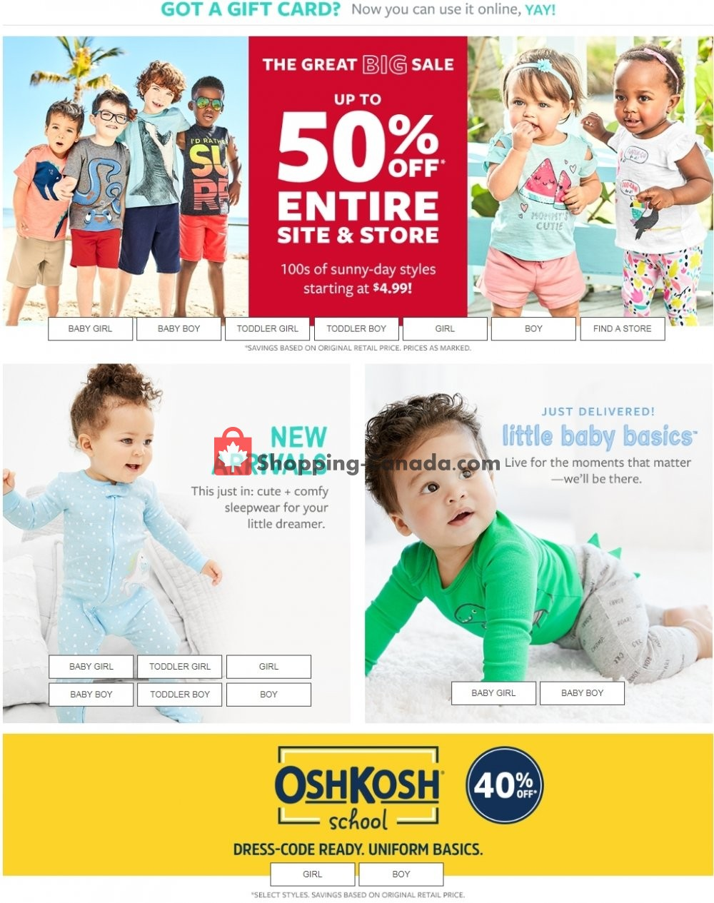 Flyer Carter's Oshkosh Canada - from Wednesday July 3, 2019 to Tuesday July 9, 2019