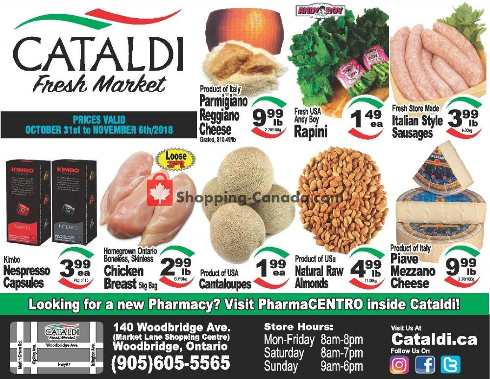 Flyer Cataldi Fresh Market Canada - from Wednesday October 31, 2018 to Tuesday November 6, 2018