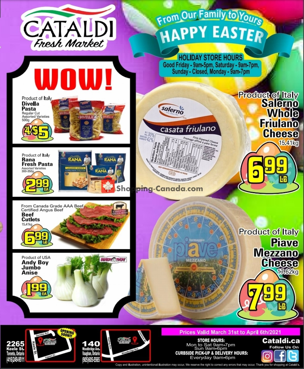Flyer Cataldi Fresh Market Canada - from Wednesday March 31, 2021 to Tuesday April 6, 2021