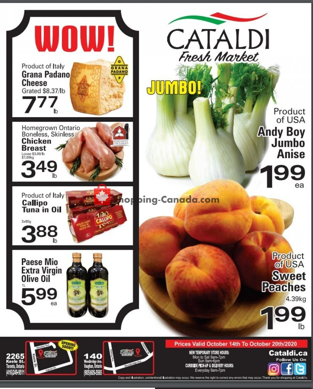 Flyer Cataldi Fresh Market Canada - from Wednesday October 14, 2020 to Tuesday October 20, 2020