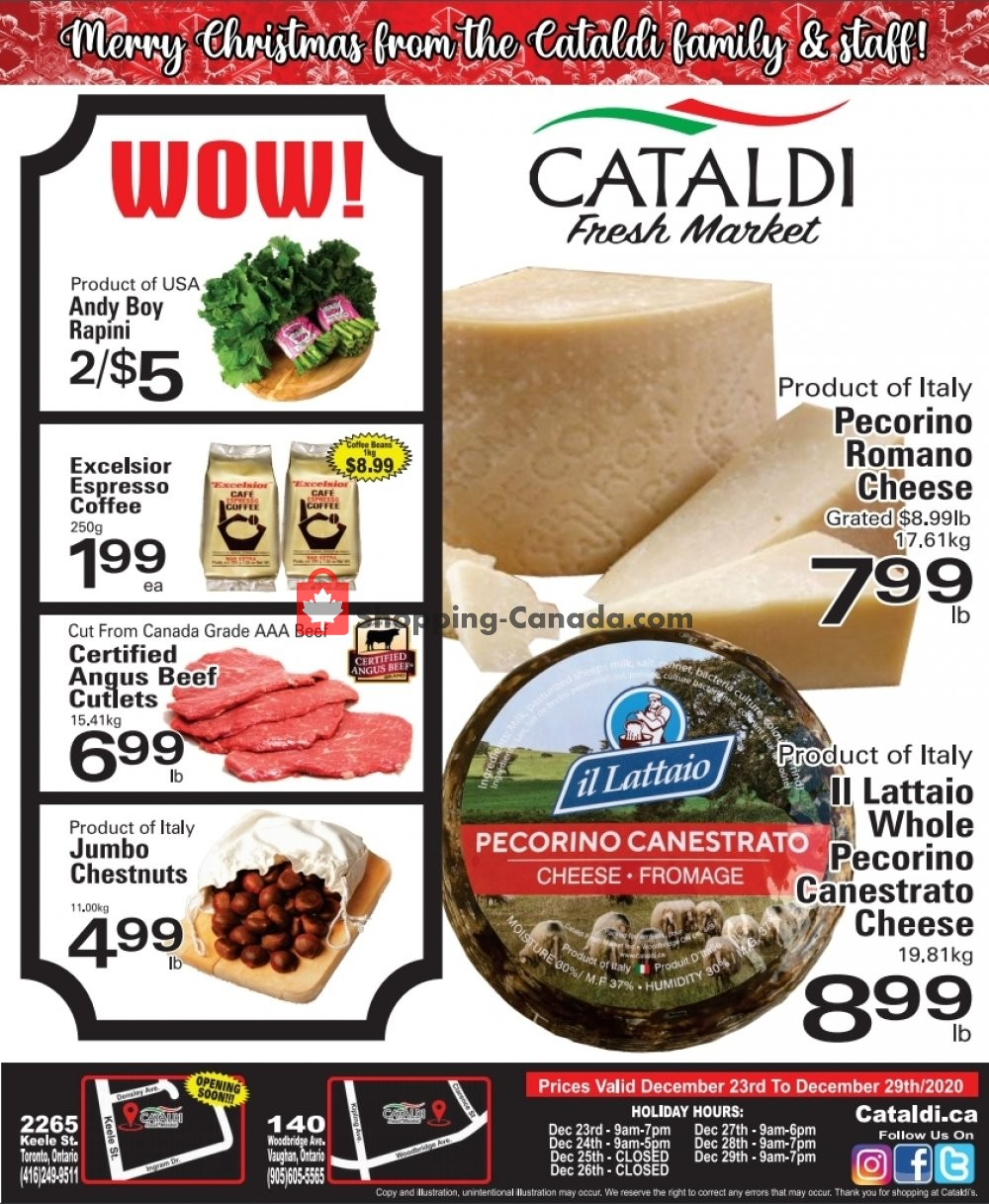 Flyer Cataldi Fresh Market Canada - from Wednesday December 23, 2020 to Tuesday December 29, 2020