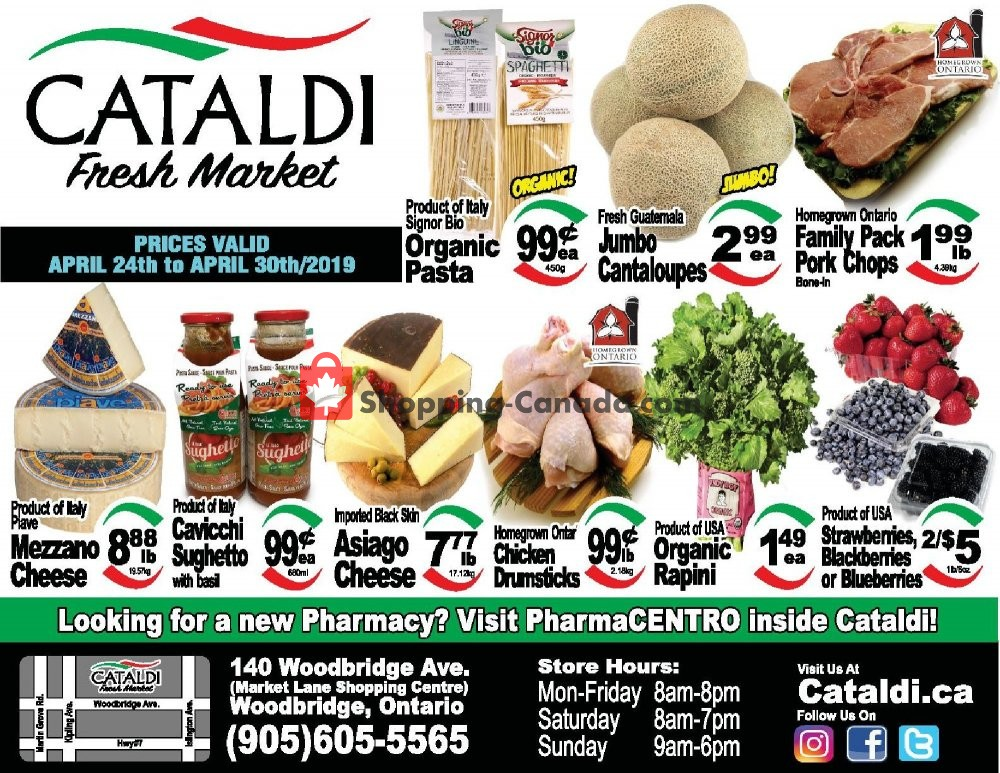 Flyer Cataldi Fresh Market Canada - from Wednesday April 24, 2019 to Tuesday April 30, 2019