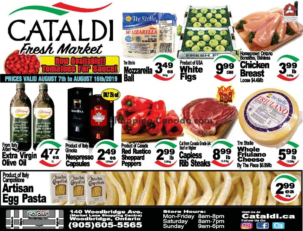 Flyer Cataldi Fresh Market Canada - from Wednesday August 7, 2019 to Friday August 16, 2019