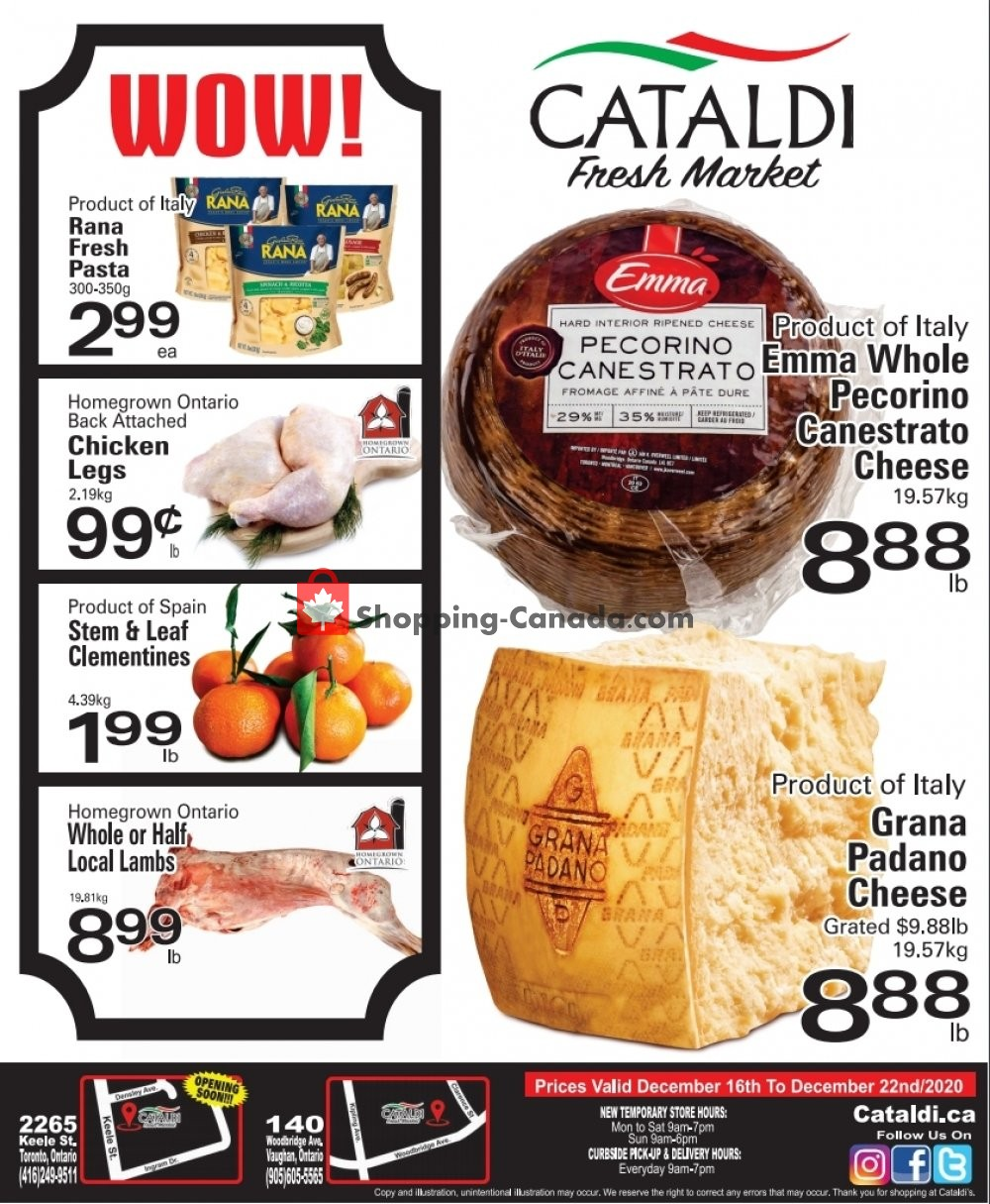 Flyer Cataldi Fresh Market Canada - from Wednesday December 16, 2020 to Tuesday December 22, 2020