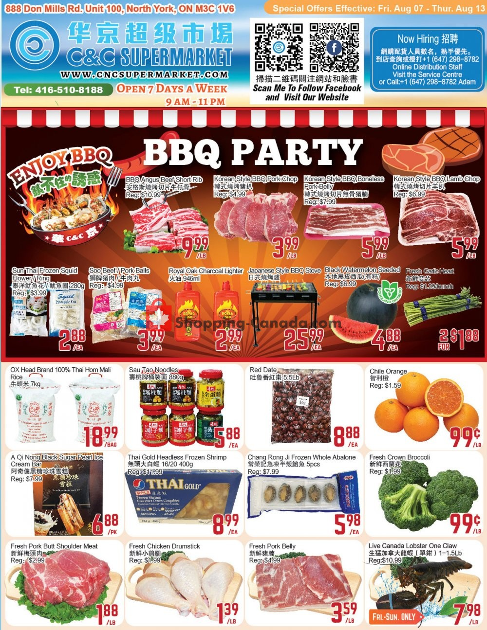 Flyer C&C Supermarket Canada - from Friday August 7, 2020 to Thursday August 13, 2020
