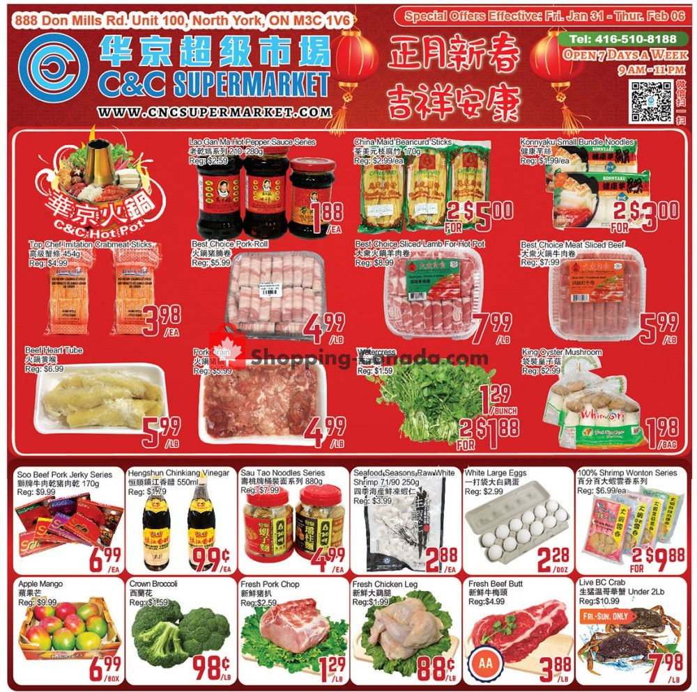 Flyer C&C Supermarket Canada - from Friday January 31, 2020 to Thursday February 6, 2020