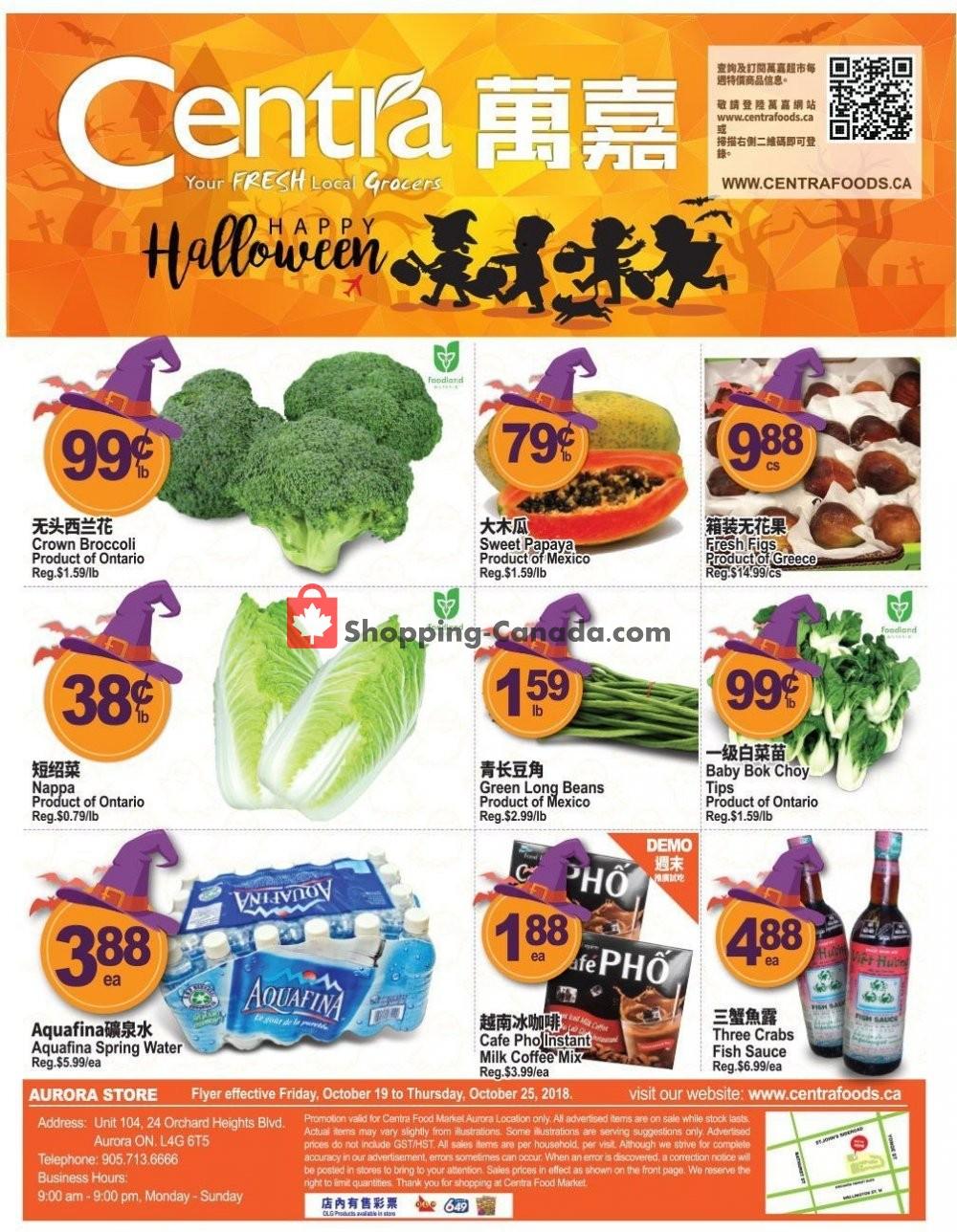 Flyer Centra Food Market Canada - from Friday October 19, 2018 to Thursday October 25, 2018