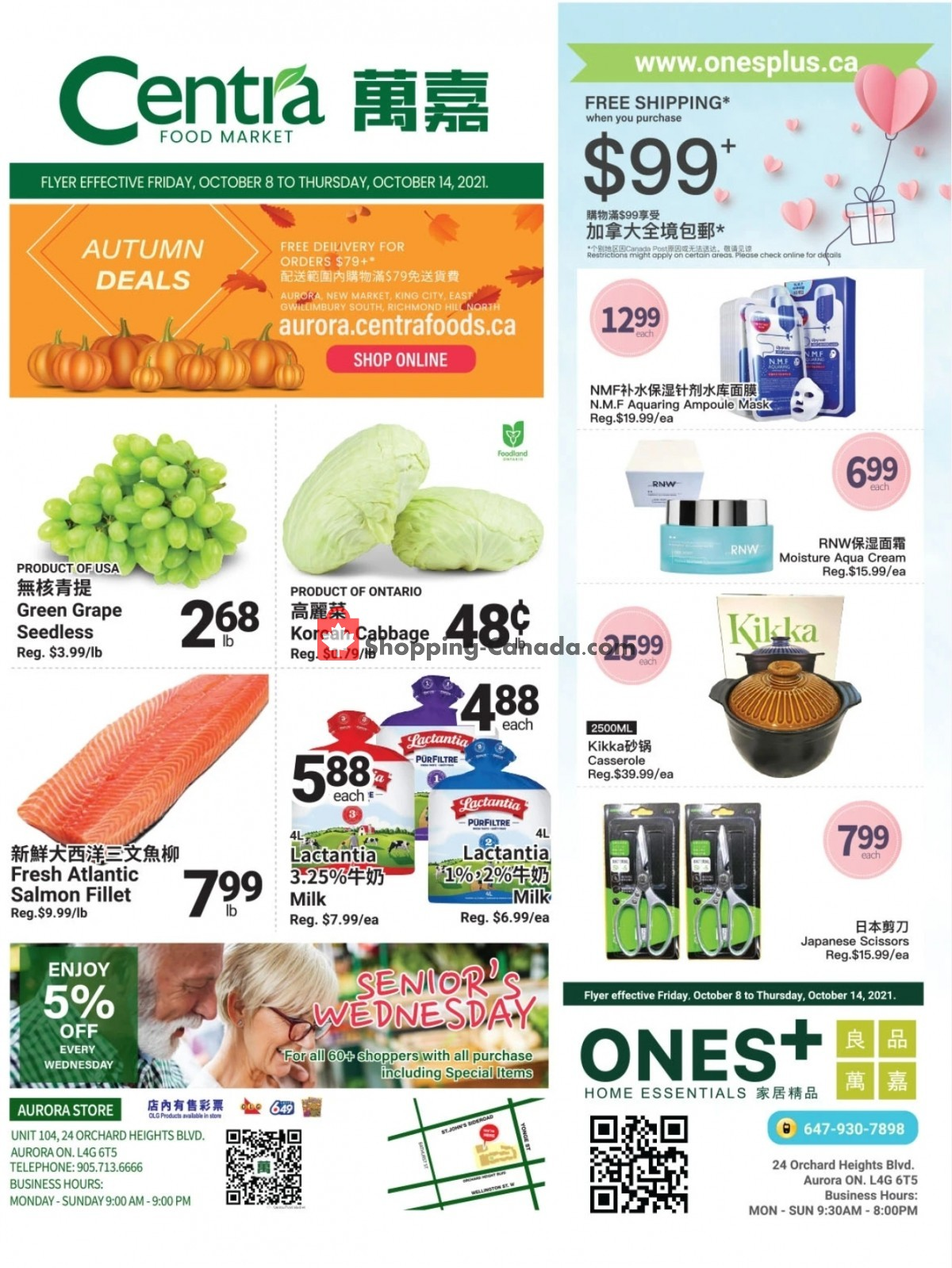 Flyer Centra Food Market Canada - from Friday October 8, 2021 to Thursday October 14, 2021