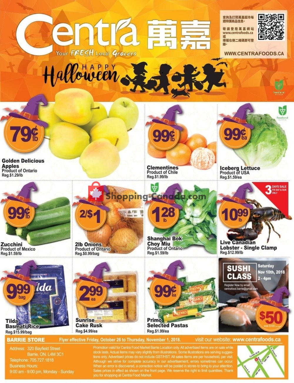 Flyer Centra Food Market Canada - from Friday October 26, 2018 to Thursday November 1, 2018