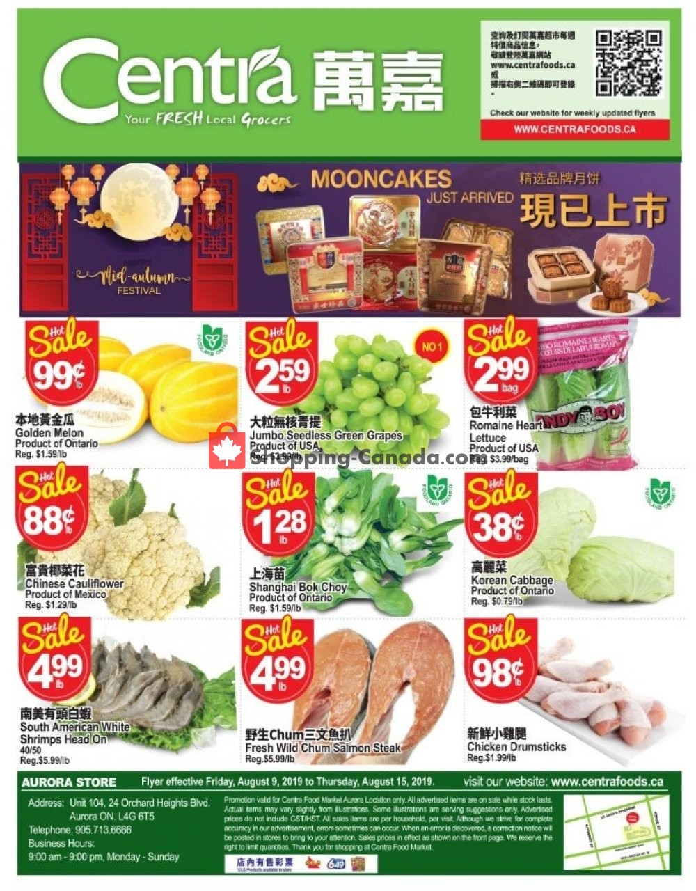 Flyer Centra Food Market Canada - from Friday August 9, 2019 to Thursday August 15, 2019