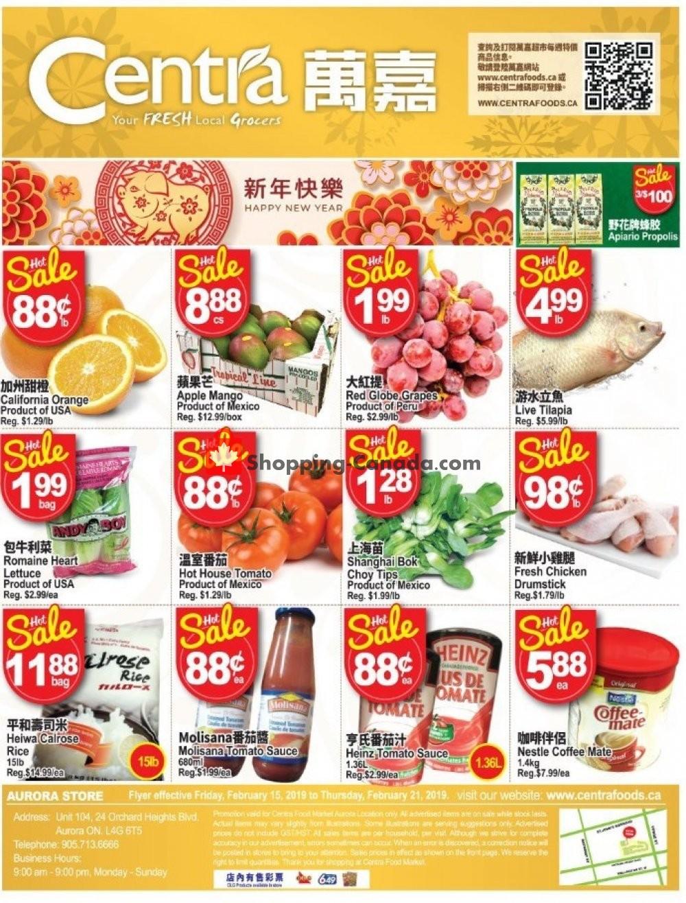 Flyer Centra Food Market Canada - from Friday February 15, 2019 to Thursday February 21, 2019