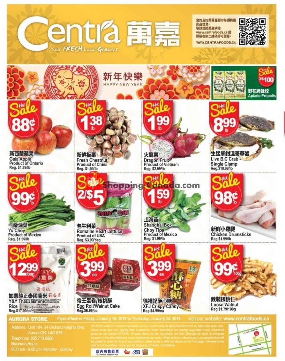 Flyer Centra Food Market Canada - from Friday January 18, 2019 to Thursday January 24, 2019