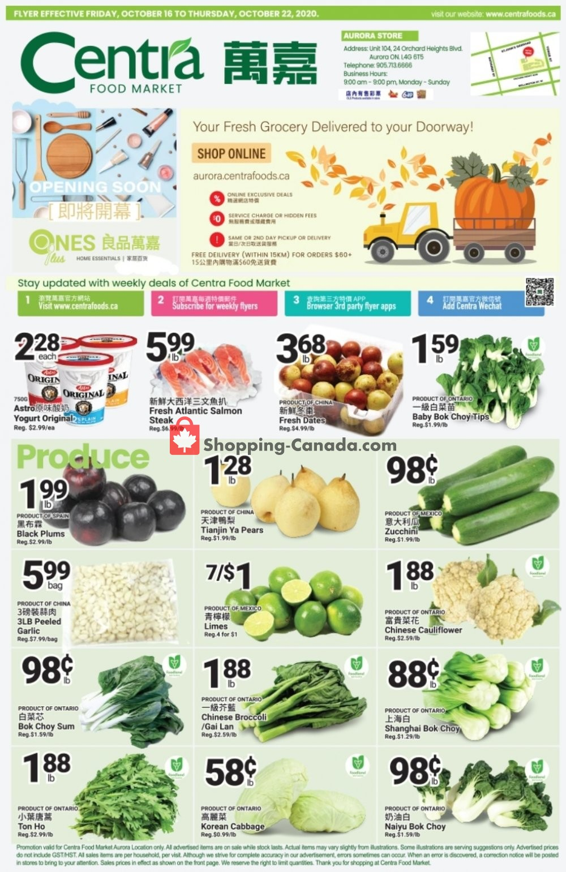 Flyer Centra Food Market Canada - from Friday October 16, 2020 to Thursday October 22, 2020