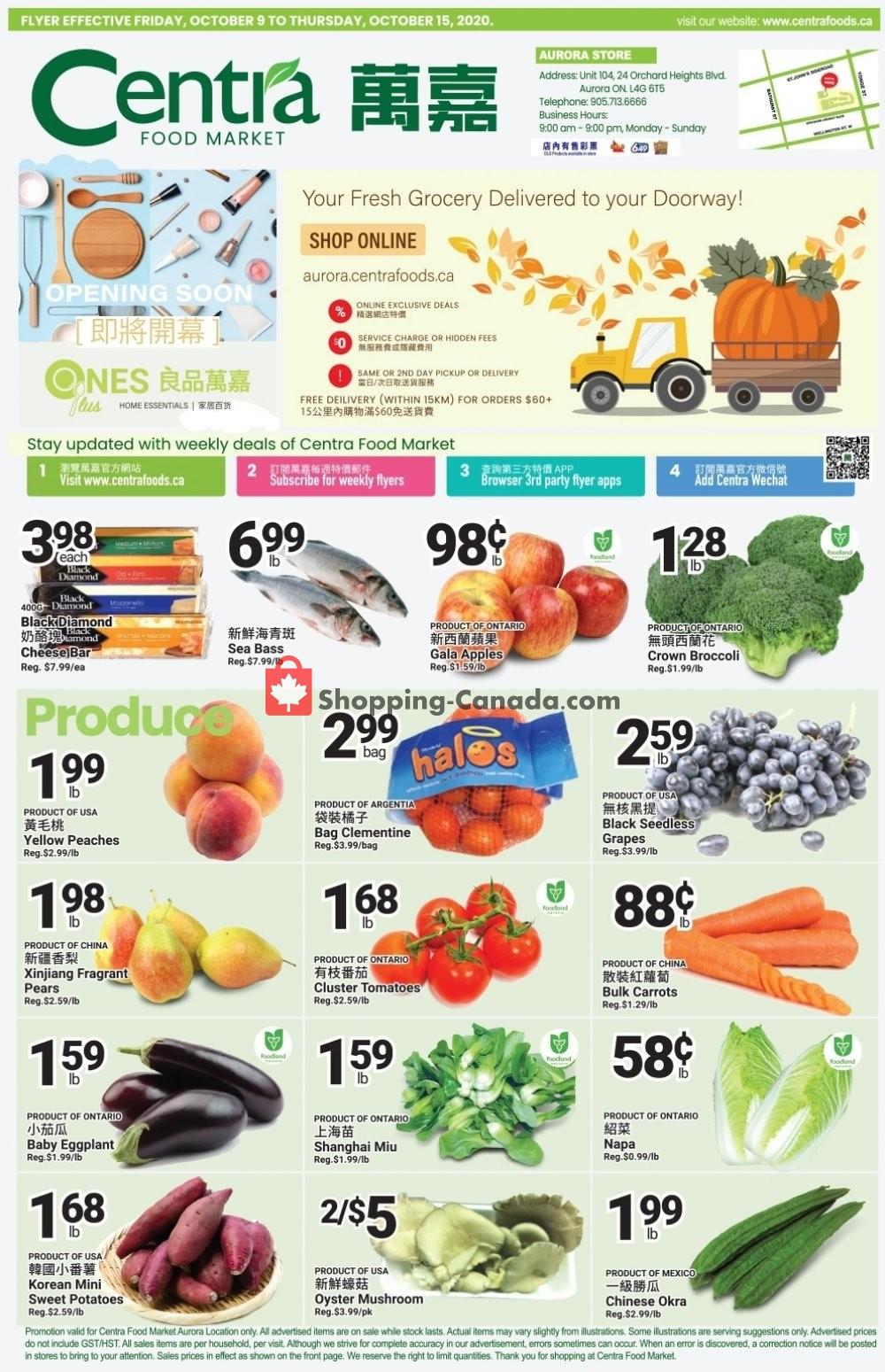 Flyer Centra Food Market Canada - from Friday October 9, 2020 to Thursday October 15, 2020