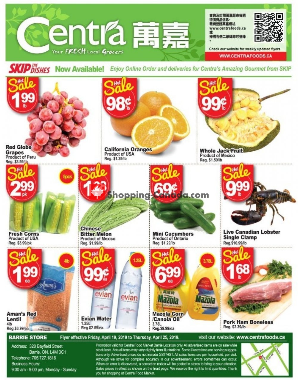 Flyer Centra Food Market Canada - from Friday April 19, 2019 to Thursday April 25, 2019