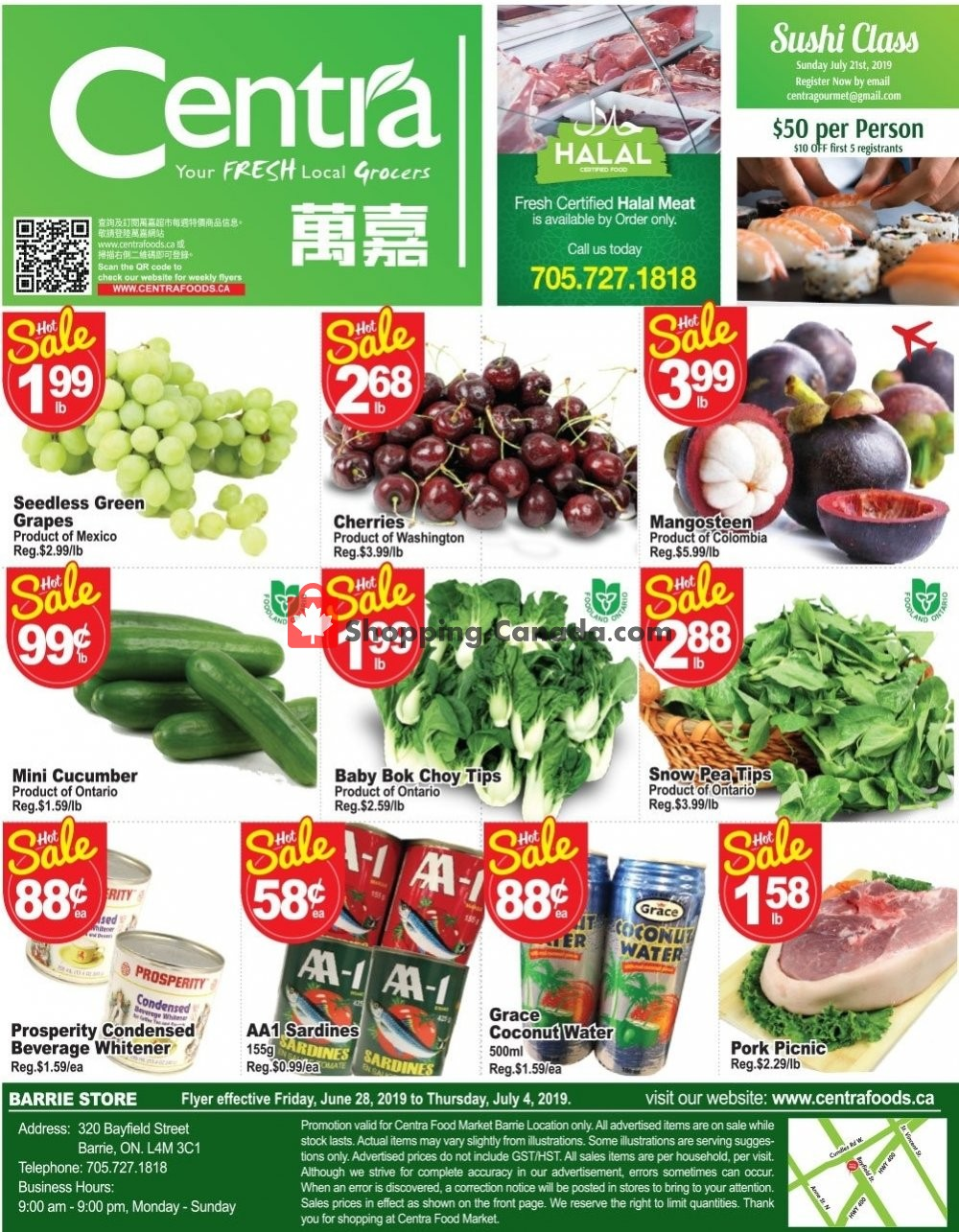 Flyer Centra Food Market Canada - from Friday June 28, 2019 to Thursday July 4, 2019