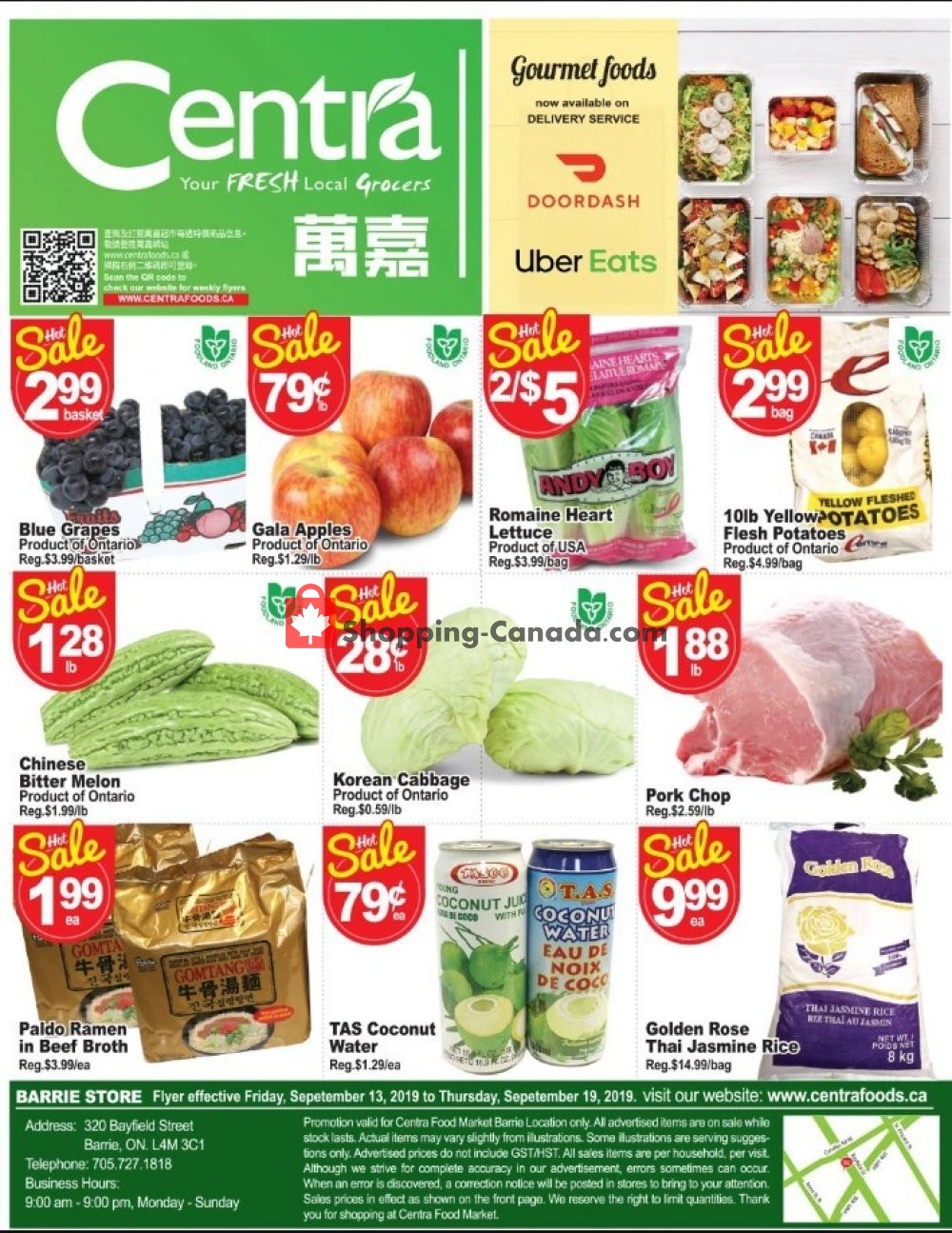 Flyer Centra Food Market Canada - from Friday September 13, 2019 to Thursday September 19, 2019