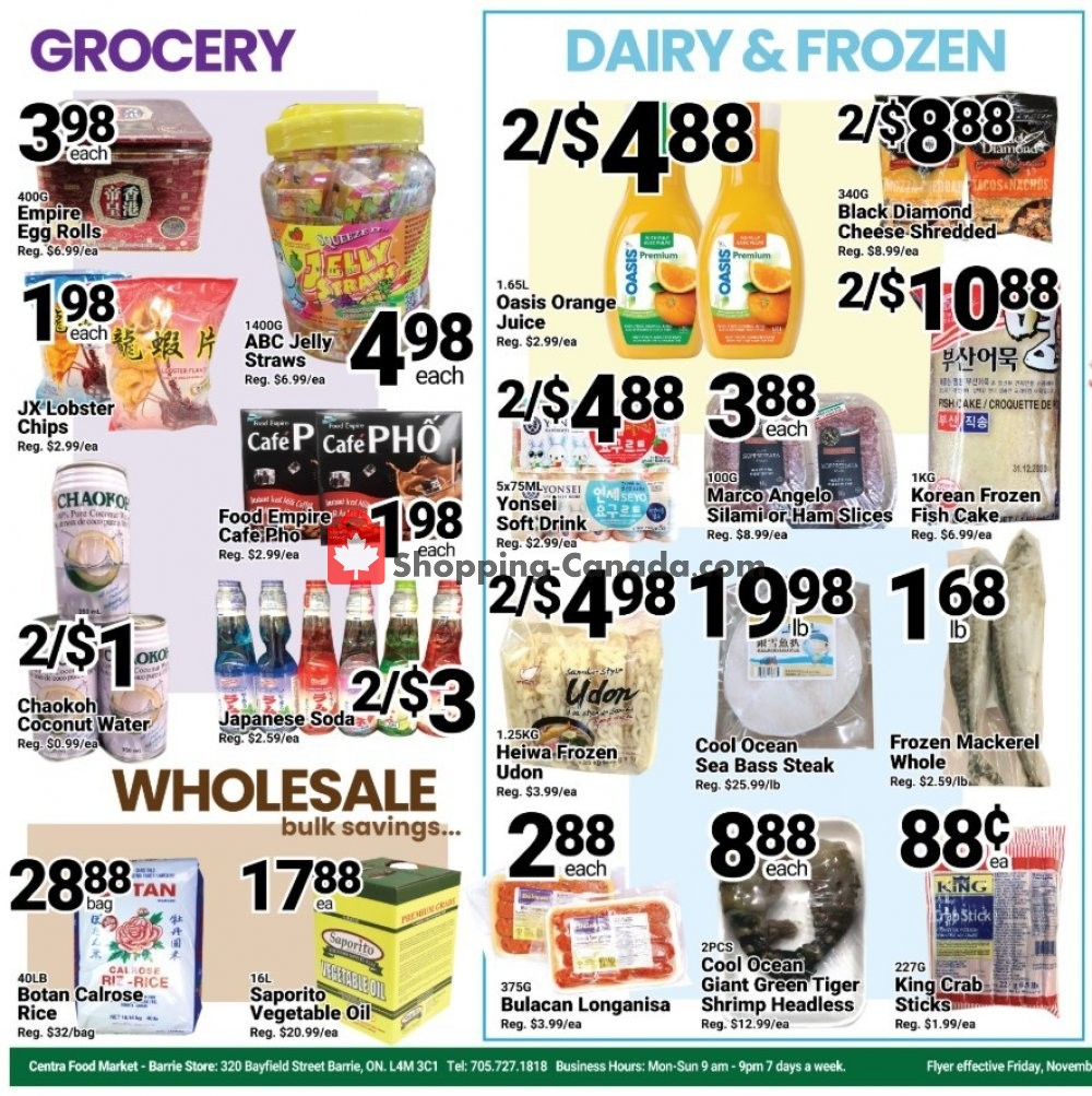 Flyer Centra Food Market Canada - from Friday November 8, 2019 to Thursday November 14, 2019