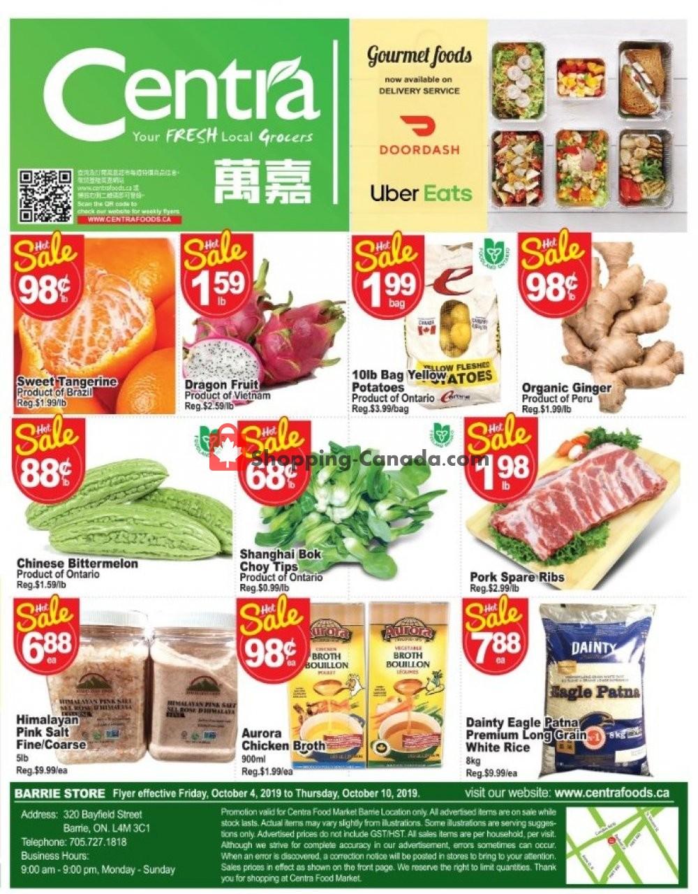 Flyer Centra Food Market Canada - from Friday October 4, 2019 to Thursday October 10, 2019
