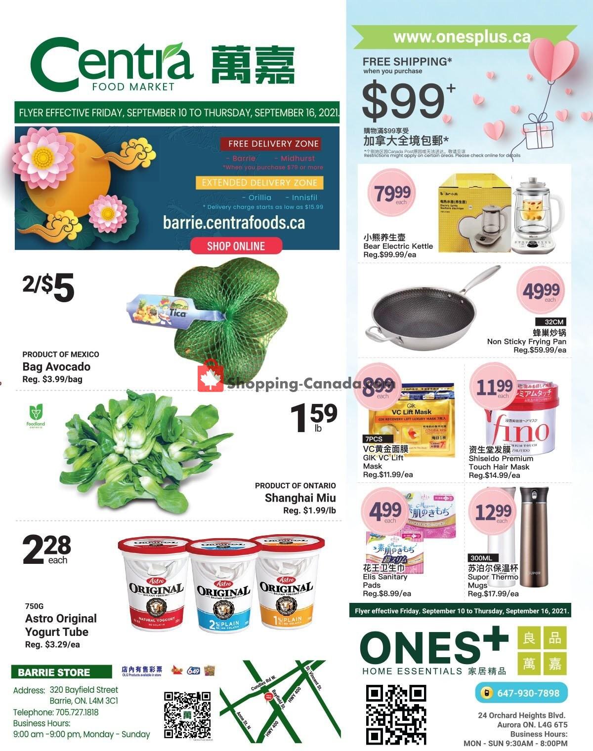 Flyer Centra Food Market Canada - from Friday September 10, 2021 to Thursday September 16, 2021
