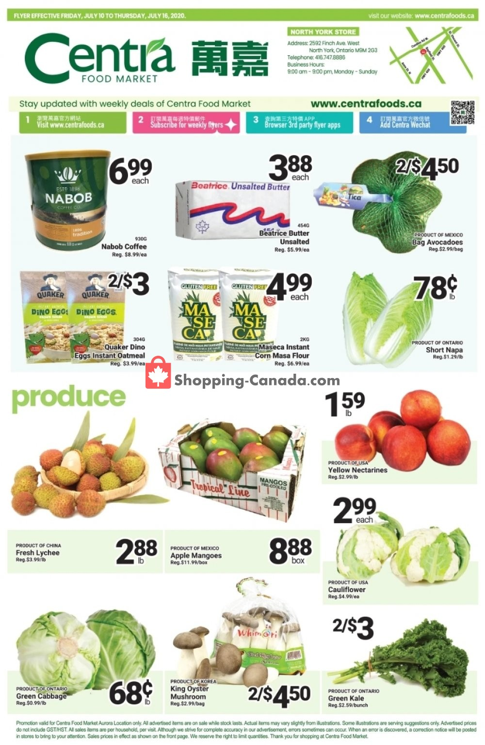 Flyer Centra Food Market Canada - from Friday July 10, 2020 to Thursday July 16, 2020