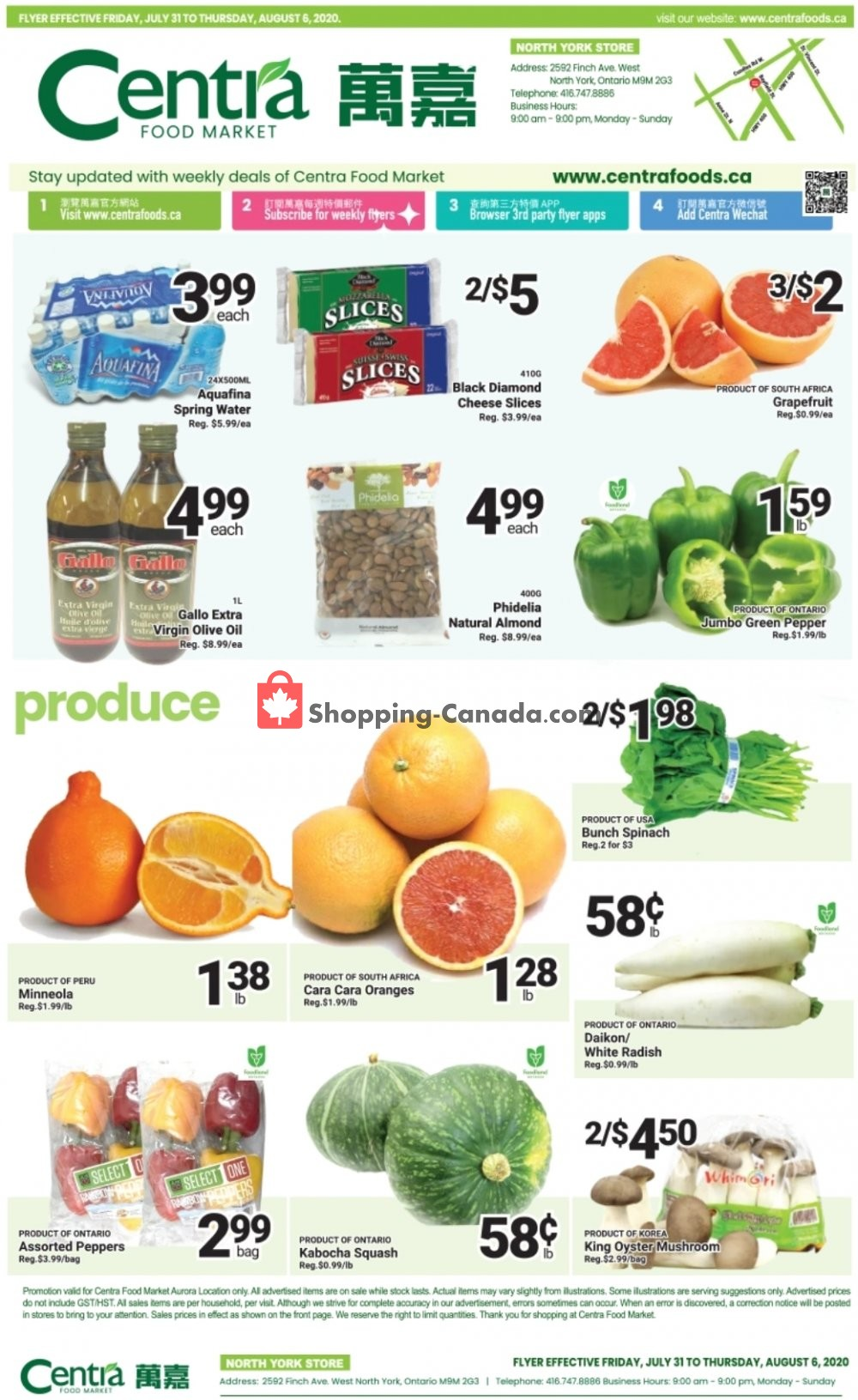 Flyer Centra Food Market Canada - from Friday July 31, 2020 to Thursday August 6, 2020