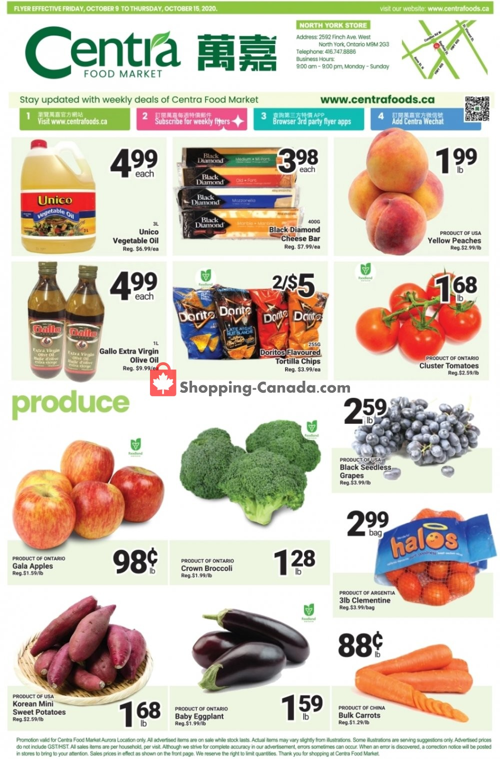 Flyer Centra Food Market Canada - from Friday October 9, 2020 to Thursday October 15, 2020