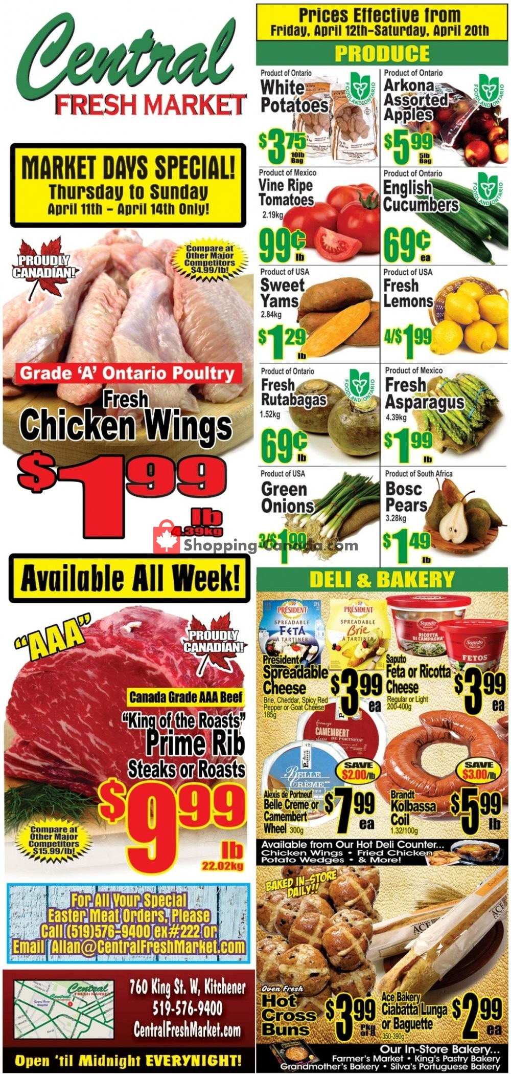 Flyer Central Fresh Market Canada - from Friday April 12, 2019 to Saturday April 20, 2019
