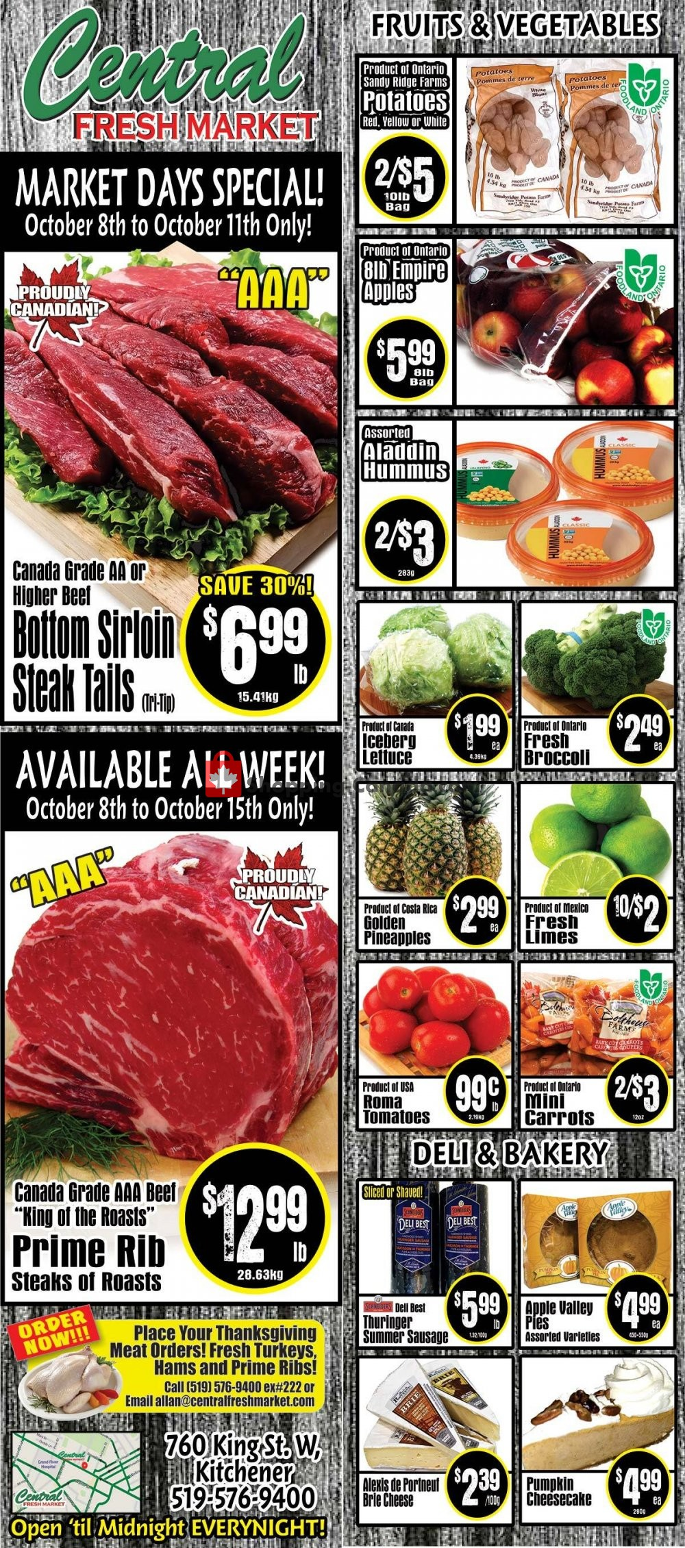 Flyer Central Fresh Market Canada - from Thursday October 8, 2020 to Thursday October 15, 2020
