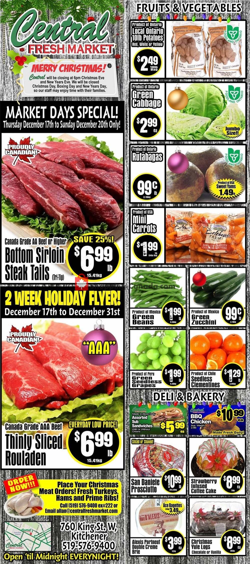 Flyer Central Fresh Market Canada - from Thursday December 17, 2020 to Thursday December 31, 2020
