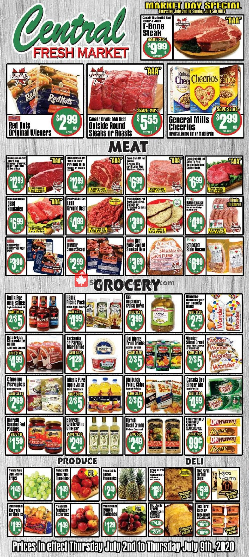 Flyer Central Fresh Market Canada - from Thursday July 2, 2020 to Thursday July 9, 2020