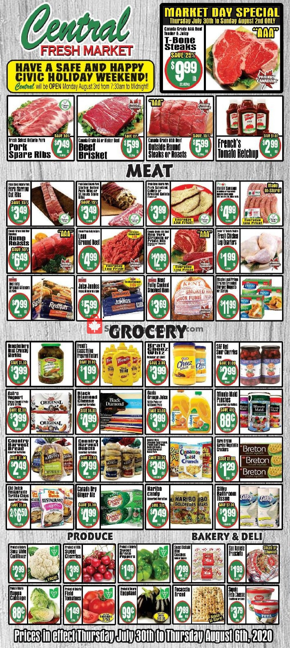 Flyer Central Fresh Market Canada - from Thursday July 30, 2020 to Thursday August 6, 2020
