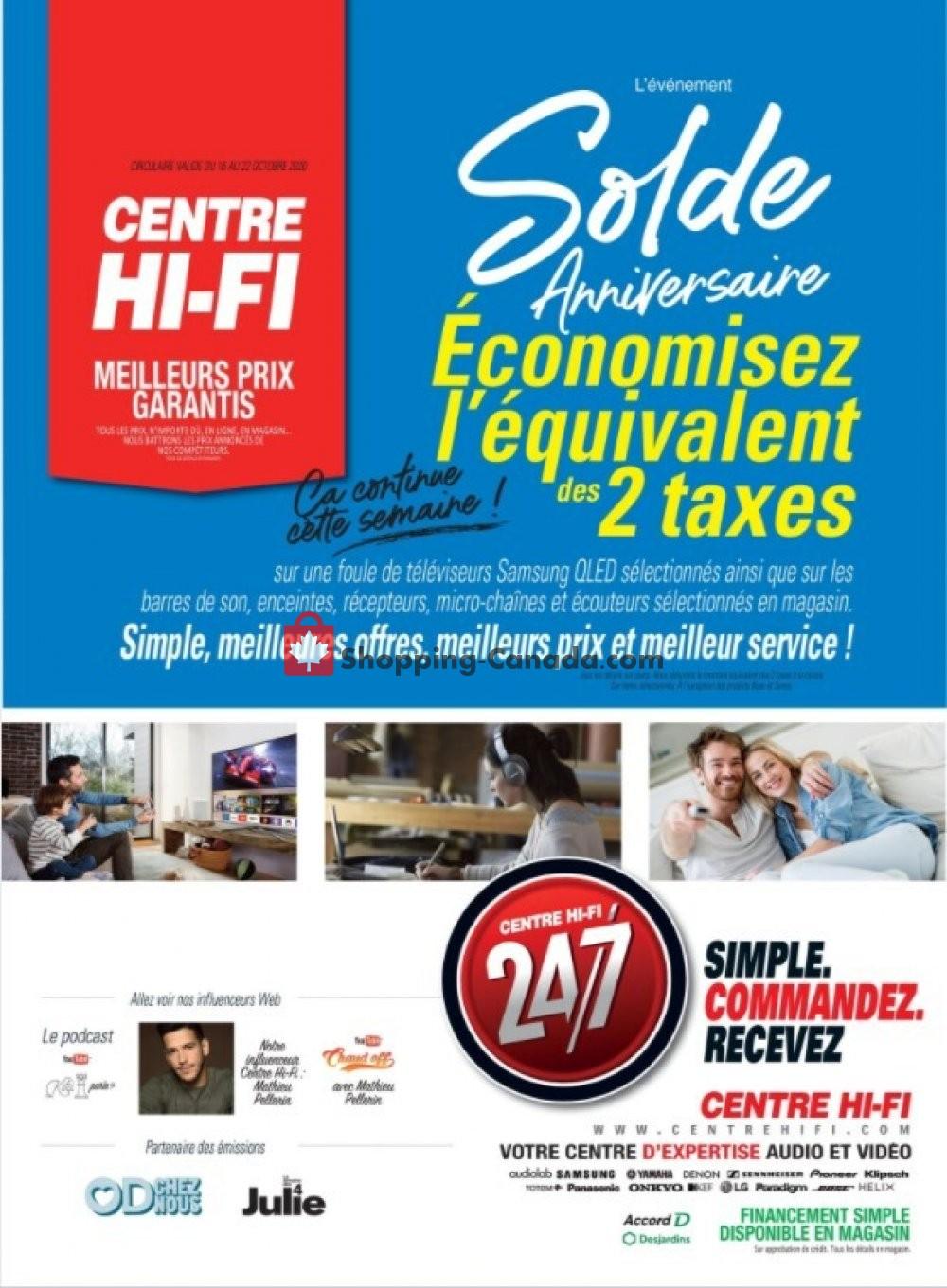 Flyer Centre Hi-Fi Canada - from Friday October 16, 2020 to Thursday October 22, 2020